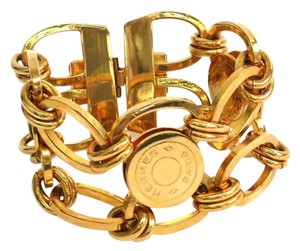 Hermès Hermes Rare Sellier Gold Logo Chain Link Charm Cuff Bracelet