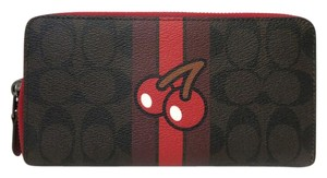 Coach Coach Signature Pac Man Accordion Zip Wallet F56718 Brown, Red NWT