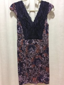 Free People short dress Purple Lace Floral Stretchy on Tradesy