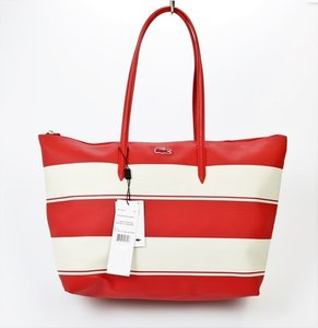 Lacoste Striped Faux Leather Spacious Large Tote