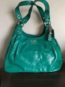 Coach Patent Leather Satchel in green
