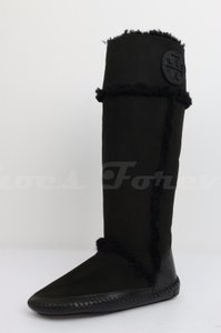 Tory Burch Shearling Fur Flat Moccasin Black Boots