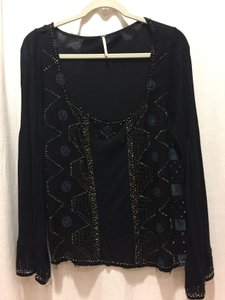 Free People Embroidered Beaded Top black