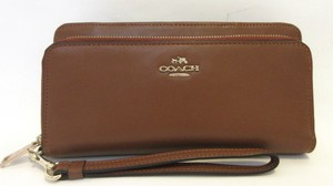 Coach Coach Smooth Leather Accordion Double Zip Around Wallet $248 52103 NWT