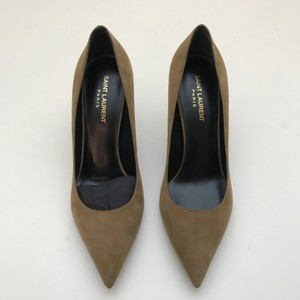 Saint Laurent Heels Pointed Toe Tan Brown Beige Dark Tan Pumps