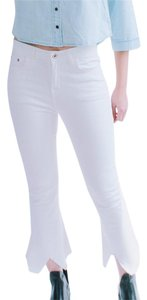 Frayed Cotton Flare Leg Jeans-Light Wash