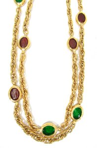 Chanel Vintage '80s Red and Green Oval Gripoix Necklace, Sautoir MINT