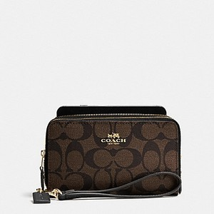 Coach Coach DOUBLE ZIP PHONE WALLET IN SIGNATURE 53937 NWT
