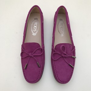 Tod's Pink Purple Moccasin Suede Pink/Purple Flats