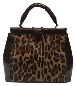 Nancy Gonzalez Crocodile Calf Hair Tote in Brown/Leopard