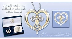 Bradford Exchange New Guardian Angel REAL Diamond Pendant For Granddaughter.