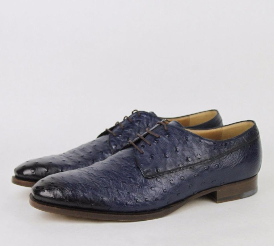 512e9c966 Gucci Blue Men's Ostrich Oxford Dress G 12.5/ Us 13.5 309032 4220 Shoes  Image 0 ...