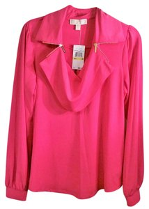 Michael Kors Long Sleeve Shawl Collar Top hot pink