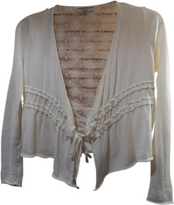 Guess Tie Front Cropped Long Sleeve Knit Crochet Cardigan