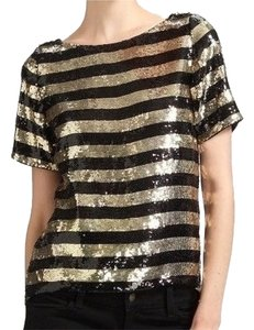 Alice + Olivia Black Sequin Top Black/ Gold