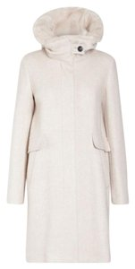 Marella Hooded Faux Fur Cream Coat