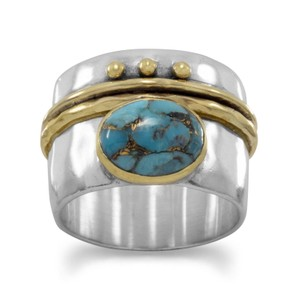 NEW .925 Sterling Silver Turquoise Ring (available sizes 6-10) NEW Two Tone Stabilized Turquoise Ring