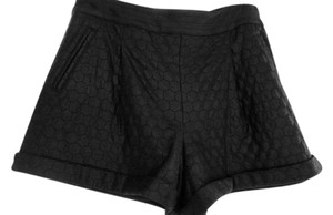 Catherine Malandrino Vegan Leather Cuffed Shorts Black