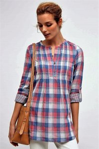 Anthropologie Plaid Pink Blue Tunic