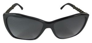 Chanel Black CC Logo & Chain Polarized Sunglasses