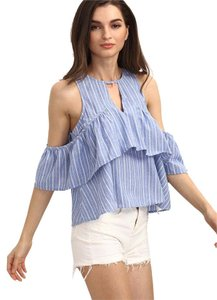 Other Shoulder Ruffle Stripes Top BLUE