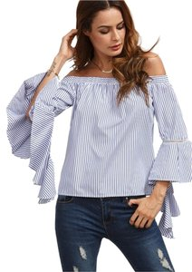 Other Off The Off Ruffle Top BLUE WHITE
