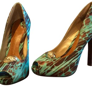 Christian Siriano for Payless Turquoise, Brown Platforms