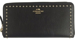 Coach Coach Rivets Accordion Zip Wallet stud In Black 54019 NWT