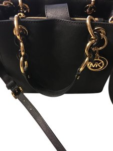 Michael Kors Cynthia Leather Satchel in Black gold