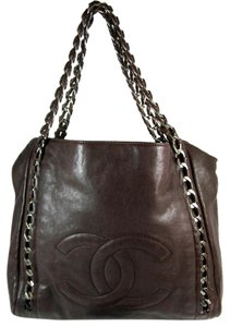 Chanel Brown Leather Medallion Chain Tote Shoulder Bag