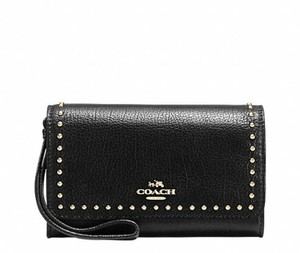 Coach COACH RIVETS WRISTLET Wallet BLACK LEATHER BAG 66194 NWT