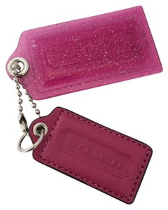 Coach COACH POPPY GLITTER ACRYLIC AND LEATHER KEY CHAIN HANG TAG FOB PINK