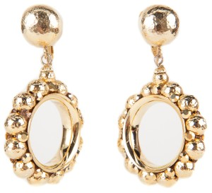 Neiman Marcus Neiman Marcus Gold Dangle Hoop Clip On Earrings