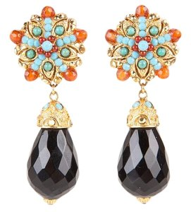 Jose & Maria Barrera Barerra Gold Clip On Earrings With Turquoise & Amber Color Stone