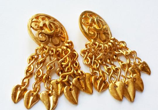 Chanel Chanel Vintage 24K Gold Plated Hemmered Dangle Clip on Earrings