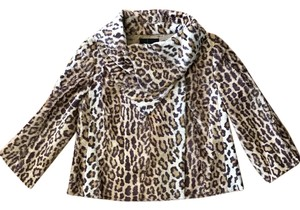INC International Concepts Faux Fur Leopard Animal Print Motorcycle Jacket