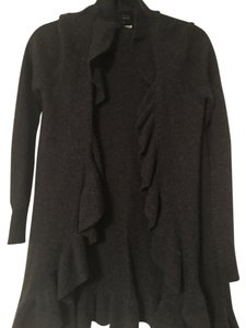 Saks Fifth Avenue Cashmere Ruffled Detail Grey Cardigan
