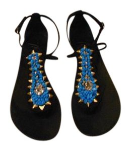 Giuseppe Zanotti Vamp Design Made In Italy Black/Turquoise Sandals