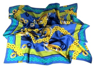 Cartier Blue w/ Gold Chains & Logos, 100% Silk, Scarf Foulard