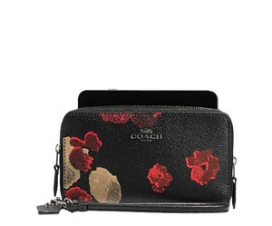 Coach Coach Double Zip Phone Wallet Halftone Black Floral 53937 NWT