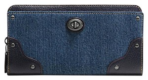 Coach Coach MERCER Accordion Denim/Leather Zip Wallet 53920 NWT