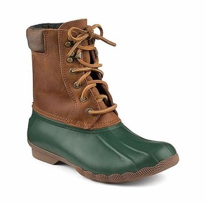 Sperry Womens Shearwater Duck Brown Leather Brown, green Boots