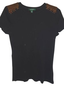 Lauren Ralph Lauren Short Sleeve Cotton Knit T Shirt BLACK
