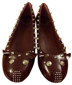Marc by Marc Jacobs Studded Patent Leather Patent Leather Merlot Flats