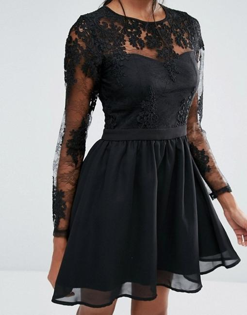 Missguided Black Sleeve Prom Short Cocktail Dress Size 6 (S) Missguided Black Sleeve Prom Short Cocktail Dress Size 6 (S) Image 2