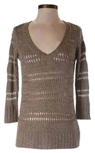 Elle V Neck Small Sweater New Brown Tunic