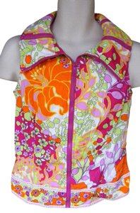Moschino Colorful Floral Adjustable Collar Bright Zippers Vest