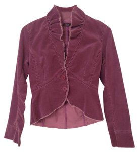 Anthropologie Corduroy Fringe Edges Ruffle Neck Plum Jacket
