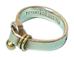 Tiffany & Co. Tiffany & Co. Sterling Silver 18k Gold Hook & Eye Ring Size 6