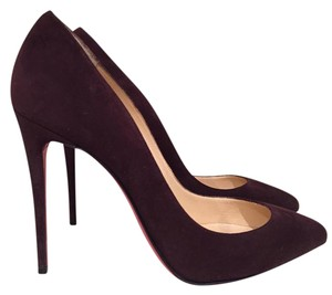 Christian Louboutin Pigalle Follies Stiletto Suede Leather wine Pumps